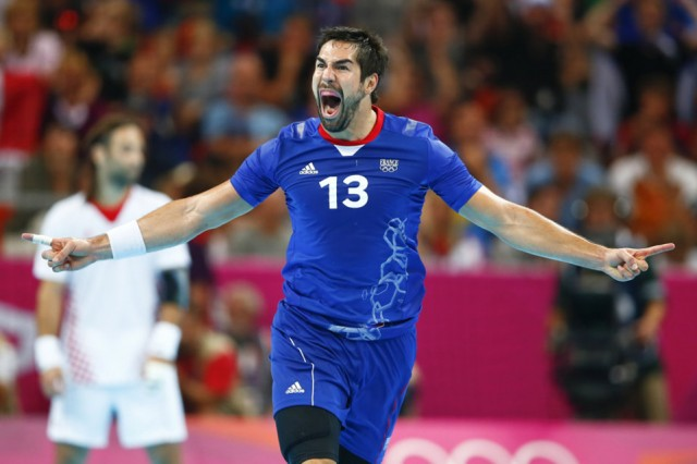 France's Nikola Karabatic celebrates after scoring during the men's semi-final match against Croatia at the Basketball Arena during the London 2012 Olympic Games