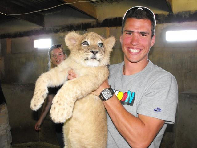 Mihail Dudas with lion