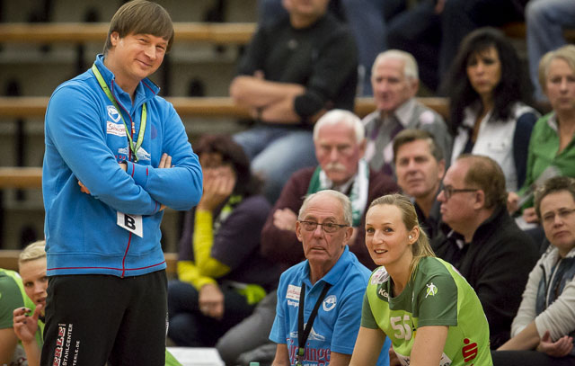 Aleksandar Knezevic im Spiel Frisch Auf Goeppingen Frauen - Prilep. EHF-Cup