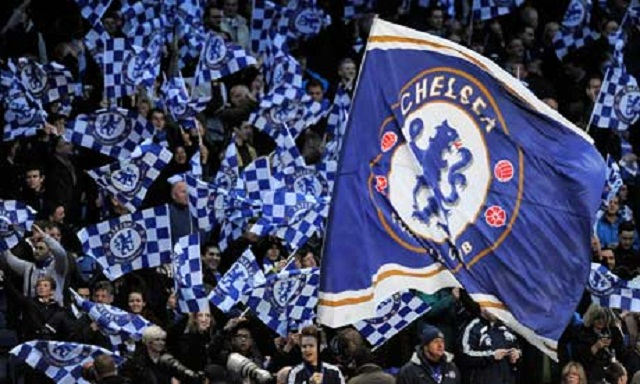 Chelsea fans wave flags ahead of the UEF