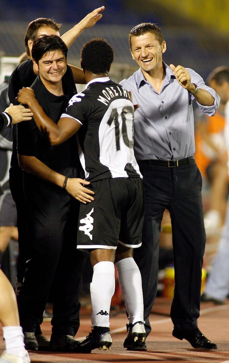 Partizan Belgrade player Almani Moreira from Portuga, center, celebrates with team mate Igor Spasic, left and head coach Miroslav Djukic, right, scoring against NK Zrinjski, Mostar, Bosnia and Herzegovina, during UEFA Cup, first qualifying round, second leg, soccer match in Belgrade, Serbia, Thursday, Aug. 2, 2007. (Srdjan Stevanovic/starsportphoto.com)