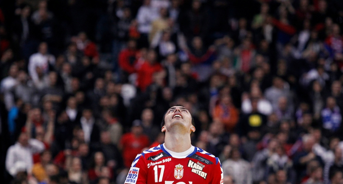 BELGRADE, SERBIA - JANUARY 23: Rajko Prodanovic celebrates victory against Sweden during the Men's European Handball Championship 2012 second round  group one, match between Serbia and Sweden at Arena Hall on January 23, 2012 in Belgrade, Serbia. (Photo by Srdjan Stevanovic/Starsportphoto.com ©)