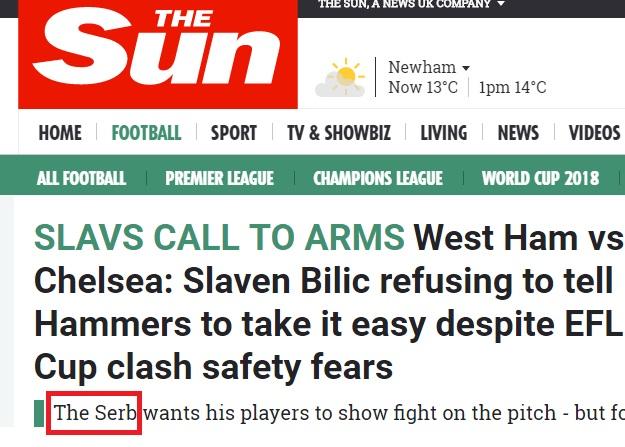 The Sun Bilic Srbin